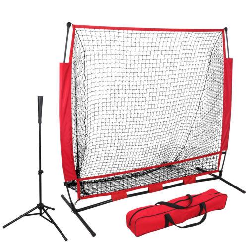 5'×5′ Baseball Practice Net Batting Tee Softball Training Hitting W/Bag Ez Setup Baseball & Softball
