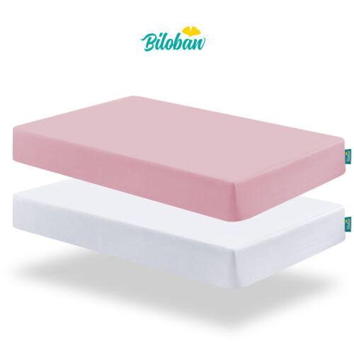 """Crib Mattress Sheets for Baby Ultra Soft Covers 2 Pack 52""""x28"""" White & Pink"""