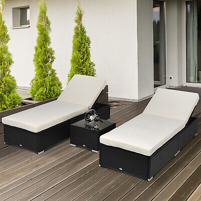 3pc Outdoor Rattan Wicker Chaise Lounge Sofa Table Set Patio Furniture