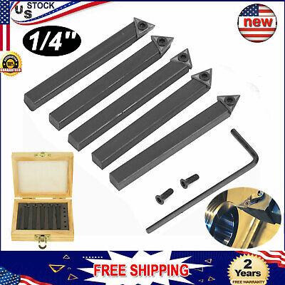 5pcs 14 Indexable Carbide Insert Tool Bit Turning Tool Holder Mini Lathe Set