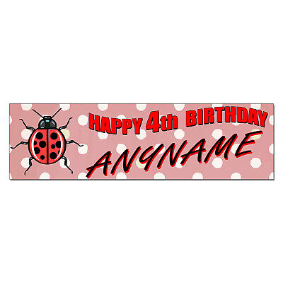 Personalized & Custom Printed Lady Bug Ladybug Themed Birthday Banner Party -