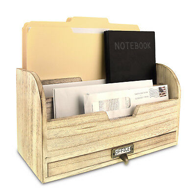 Wooden Desktop Organizer With A Metal Label Holder
