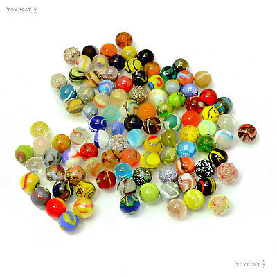 All 100+ Mixed Colour 16mm Glass Marbles NO DUPLICATES!