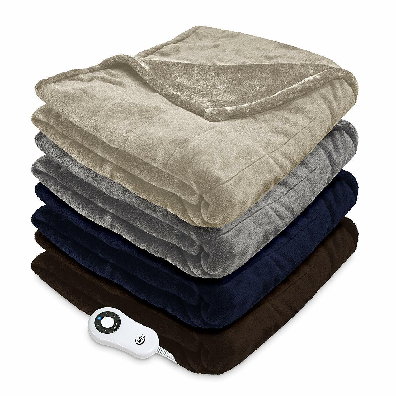 Serta Heated Electric Faux Fur Silky Throw Blanket w 5 setti