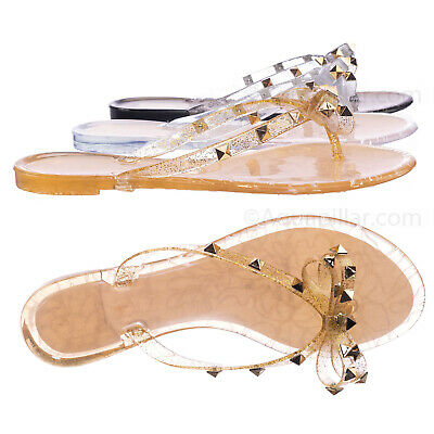 Joanie173 Rockstud Clear Lucite Jelly Slides - Women Flat Sandal Flip Flops (Clear Sandal)