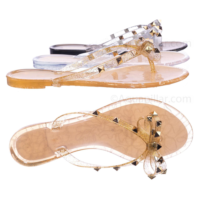 Joanie173 Rockstud Clear Lucite Jelly Slides - Women Flat Sandal Flip Flops