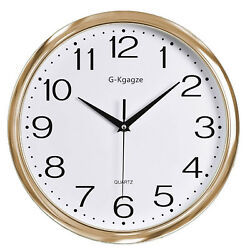 12 Silent & Non-Ticking Wall Clock Numeral Quartz Round Wall Clock Gold Frame