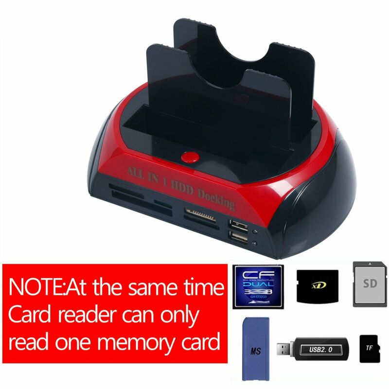 Hot!! YaeCCC HDD Docking Station IDE Dual USB 3.0 Clone Hard Drive Card Reader