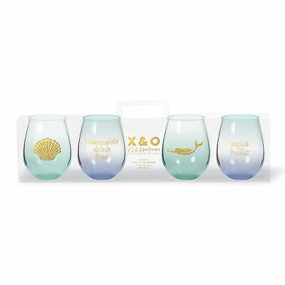C.R. Gibson 4-Pack Stemless Acrylic Wine Glass Set - Mermaid](Acrylic Stemless Wine Glasses)