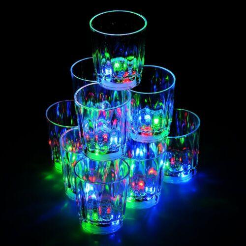 Flash Light Up Cups Shot Glasses Plastic 2 oz LED Drinking Blinking Barware -24