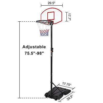 Portable Basketball System Adjustable Hoop Backboard Yard Outdoor Kids Sports](Cheap Basketball Hoop)