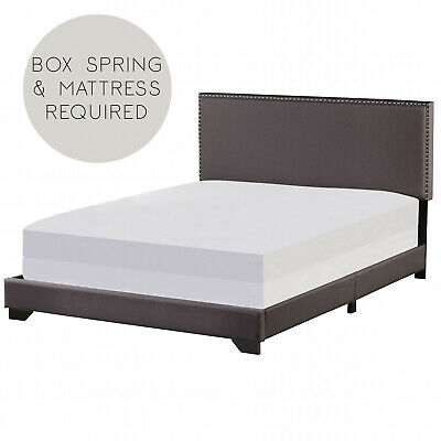 Queen Size Upholstered Bed Frame With Wood Slat Platform Headboard Nailhead Trim 9