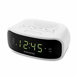 Magnasonic Digital AM/FM Clock Radio with Battery Backup, Dual Alarm, Sle... NEW