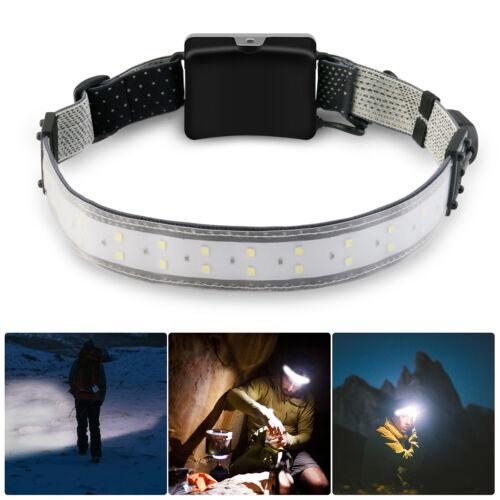 Wide Beam Headlamp Flashlight USB LED Camping Bar Head Lamp Torch Waterproof US