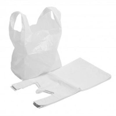100 x WHITE PLASTIC POLYTHENE VEST STYLE CARRIER BAGS 12 x 18 x 22