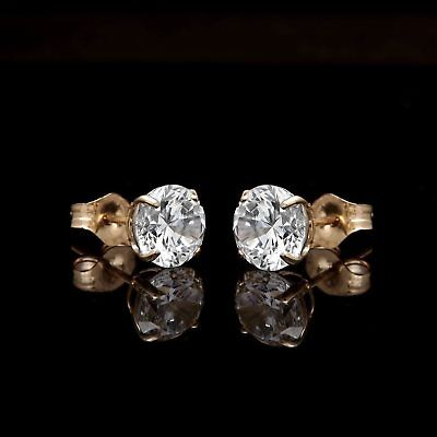 2Ct. Brilliant Round Cut Created Diamond Solitaire Earrings Solid 14K Gold Studs