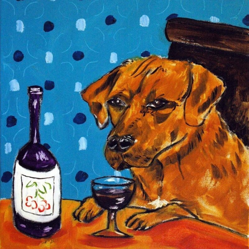 Rhodesian ridgeback at the wine bar dog art tile coaster gift impressionsm