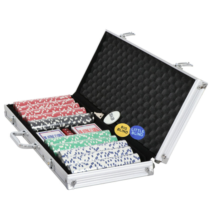500PCS Poker Chip Set Aluminum Carry Case Texas Hold