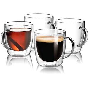 Glass Espresso Mug Set of 4 Double Walled Insulated Coffee Mugs Tea Cups 5 oz