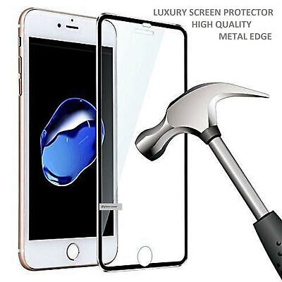 Tempered Glass Screen Protector For Apple iPhone 7 - Metal New
