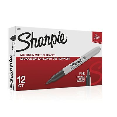 Sharpie Permanent Markers Fine Point Black 12-pack 30001 Sharpie