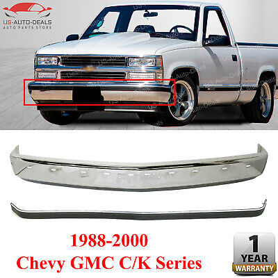 Front Bumper Face Bar Chrome with Molding Strip For 1988 - 2000 Chevy GMC C k