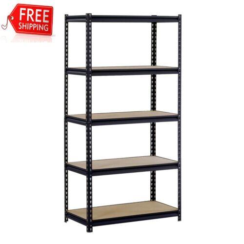 """Muscle Rack Black 48""""W x 24""""D x 72""""H 5-Shelf Steel Shelving"""