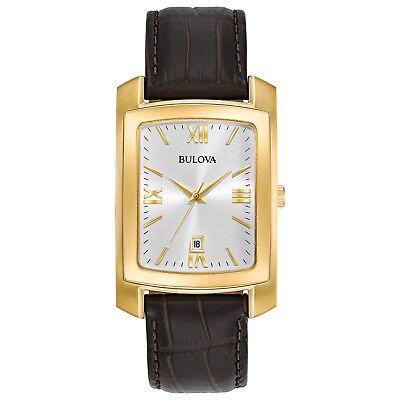 Bulova Men's Classic Quartz Gold-Tone Case Brown Leather Band Watch 31mm 97B162