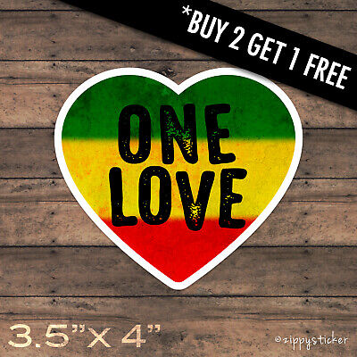 Vinyl Sticker Decal Label Rasta Reggae Bob Marley One Love Jamaica Irie Marijuana 1 sheet 28 x 18 cm