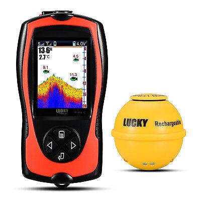 "Lucky 2.4"" TFT Screen 45M Wireless Sonar Fishfinder + Attractive Lamp 125Khz"