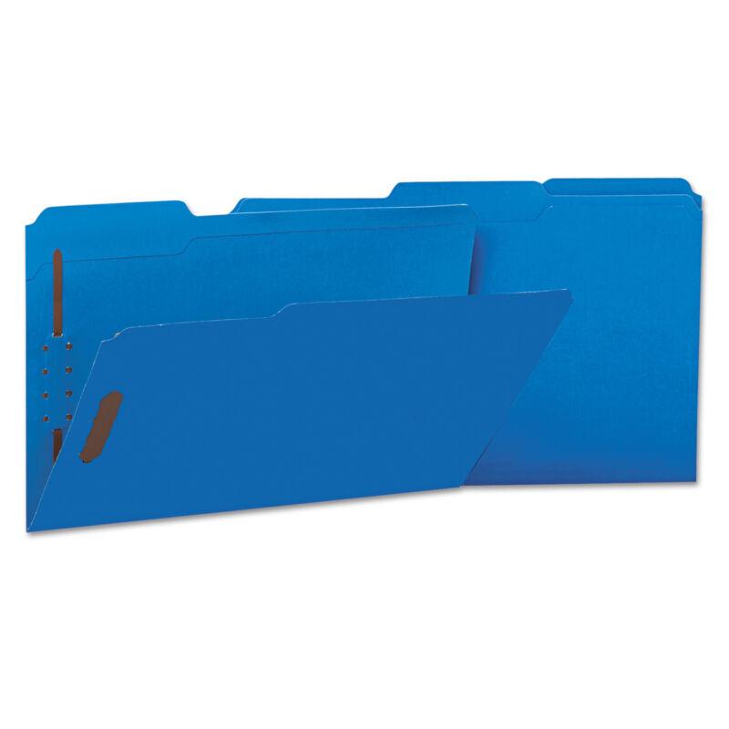 UNIVERSAL Deluxe Reinforced Top Tab Folders 2 Fasteners 1/3 Tab Legal Blue 50