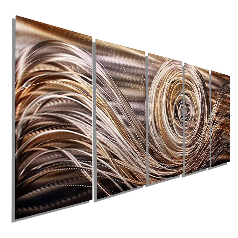Details About Ultra Modern Metal Wall Art Panels Golden Painting Decor Hand Signed Jon Allen
