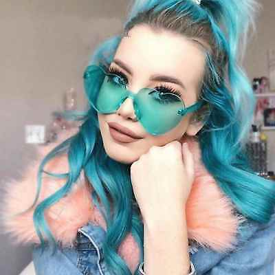 2018 Oversized Heart Shape Sunglasses Rimless Frame Mirrored Lens Women Fashion (Heart Shape Mirror)