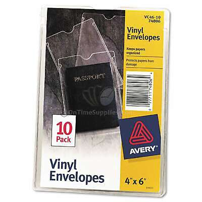 Avery Top-load Clear Vinyl Envelopes Wthumb Notch 4 X 6 Insert Size 10pack
