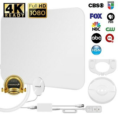 [50 Mile]Flat Ultra Thin 1080P HD Amplified Digital Indoor TV Antenna Coax White