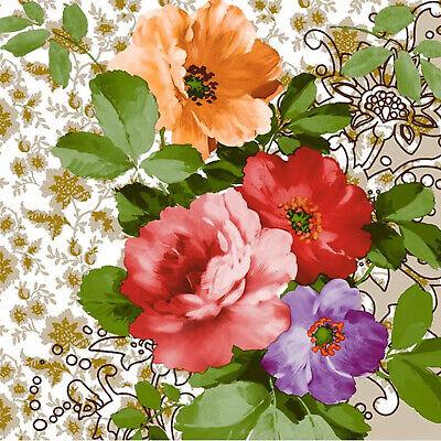 Floral Party Napkins (Floral Devotion Disposable Lunch Paper Napkins 3-Ply 20)