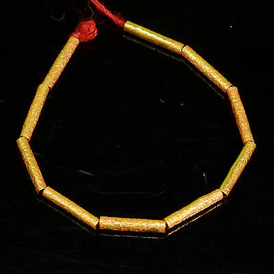 8mmx1.5mm 18k Solid Yellow Gold Textured Tube Spacer Findings Beads 3.25 INCH
