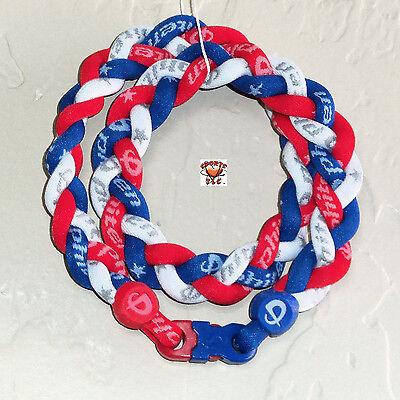 - Phiten Titanium Triple Braid Necklace: Royal Blue/Cardinal Red/White Custom