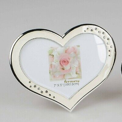 hmen WEDDING in Herzform für 13x18cm weiß silber Formano (Herz-rahmen Für Fotos)