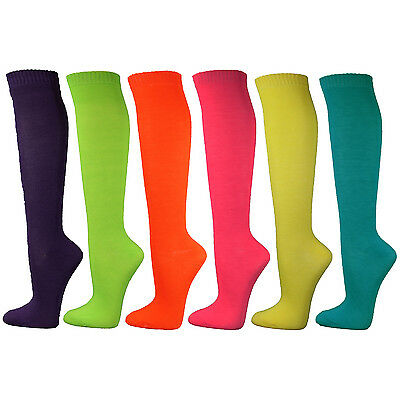 Neon Solid Ladies Colorful Variety Assorted Knee High Stocking Socks - 6 - Neon Knee High Socks