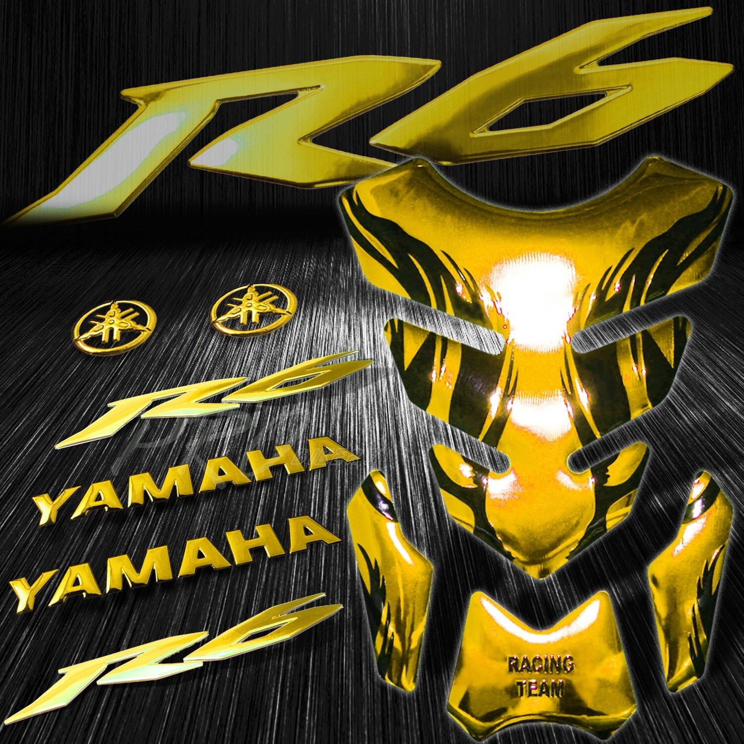 Details about chrome gold tribal fire fuel tank pad 83d logo letter for yzf r6 emblem sticker