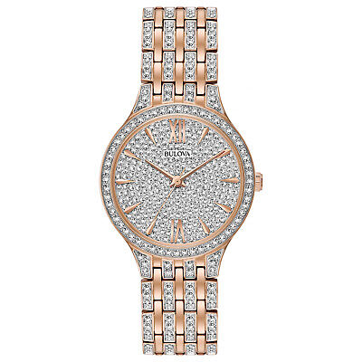 Bulova Quartz Women's Swarovski Crystals Rose Gold Tone 32mm Watch 98L235