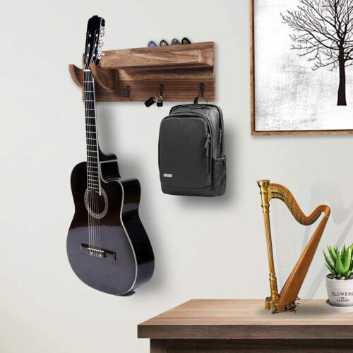 Guitar Holder Wall Mount Bracket Hanger Wood Hanging Rack 3 Hook