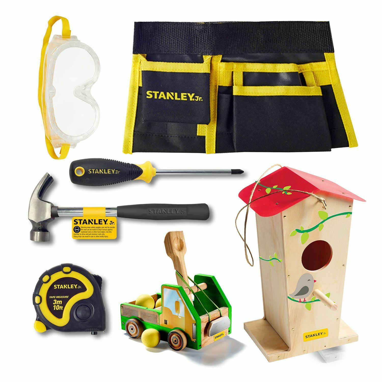Stanley Jr Real Tools Kids 2 Wood Kits 5 Piece Tool Set Tool