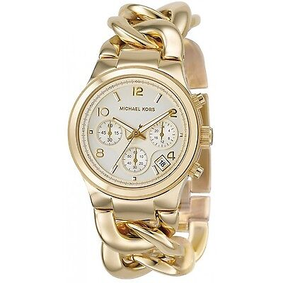 Michael-Kors-MK3131-Gold-Runway-Twist-Chain-Link-Women-s-Watch---New-in-Box