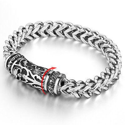 MENDINO Men's Stainless Steel Bracelet Link Chain Skull Magnetic Clasp Silver