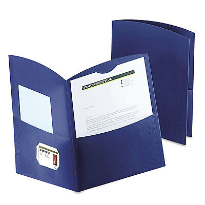 Oxford Contour Two-pocket Recycled Paper Folder 100-sheet Capacity Dark Blue