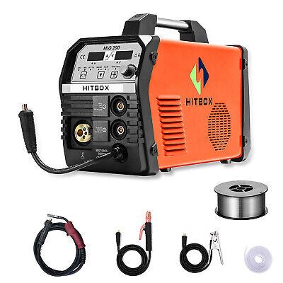 4in1 Mig Welder Flux Core Wire Gasless Gas Inverter Tig Arc Welding Machine 200a