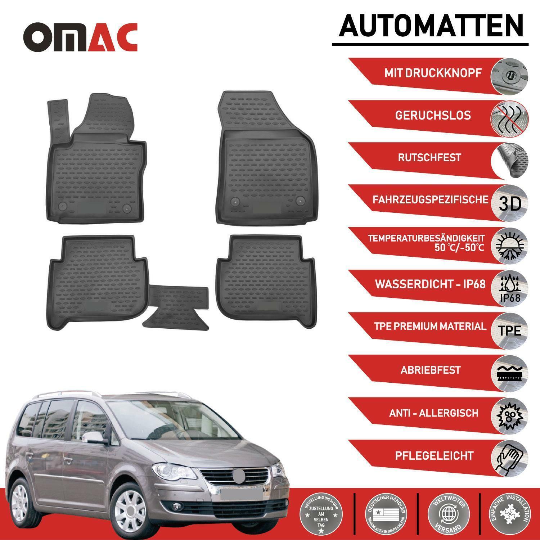 Fußmatten für VW Touran 2003-2015 3D Passform Hoher Rand Gummimatten Schwarz