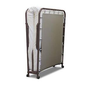HOLIDAY DEAL Folding Roll away Guest Metal Bed Frame & Mattress set Portable